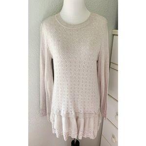 Lauren Conrad Oatmeal Peplum Sweater